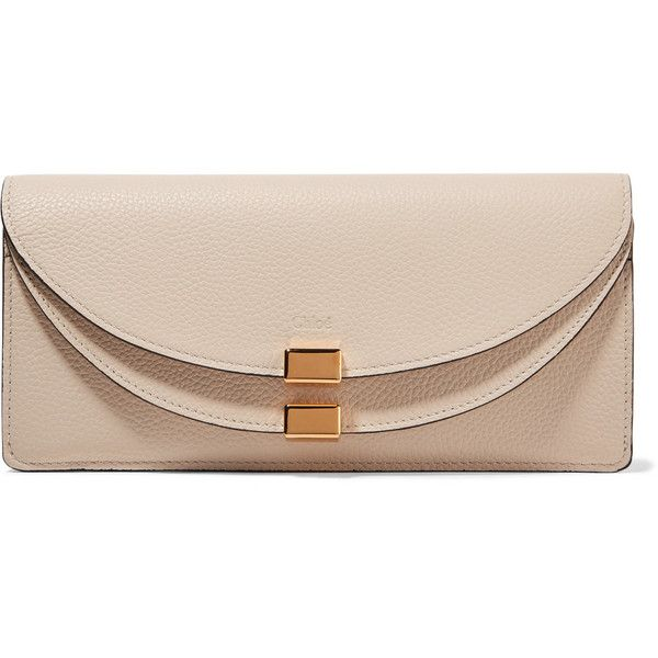 ChloéGeorgia Textured-leather Continental Wallet ($480) via Polyvore featuring bags, wallets, ecru, chloe bag, scalloped wallet, pink wallet, chloe wallet and continental wallet