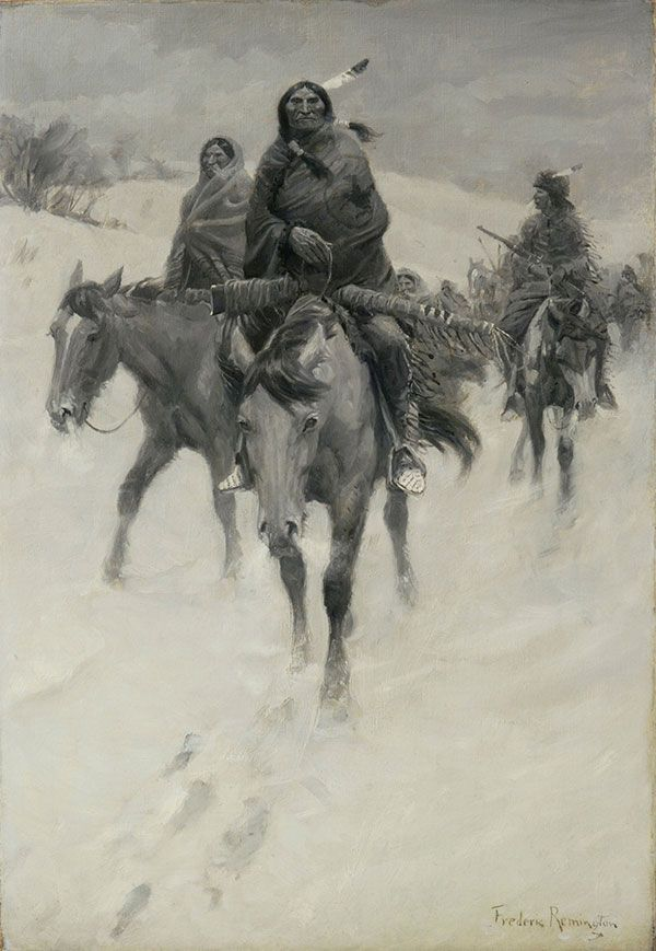We at the Glenbow Museum had only one oil painting by Frederic Remington in our art collection. Description from centerofthewest.org. I searched for this on bing.com/images