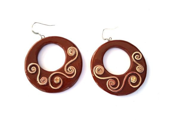 Hoop Earrings Polymer Clay Earrings Circle Abstract by MACRANI