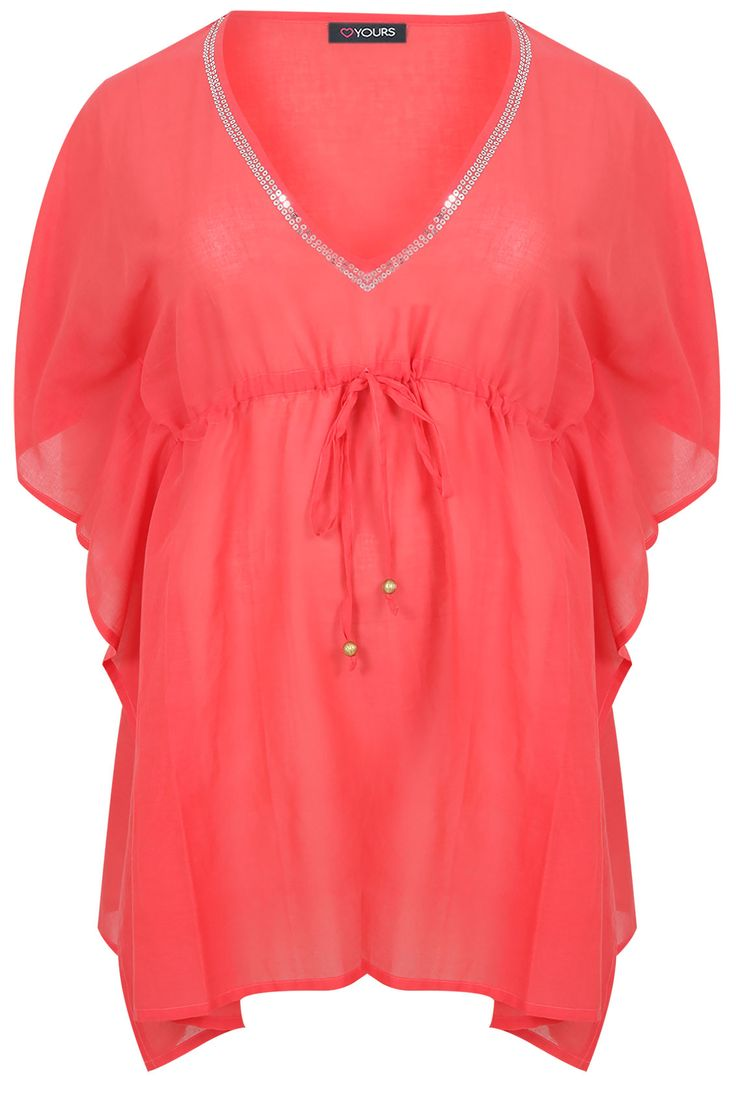 Coral Cotton Kaftan With Silver Sequins