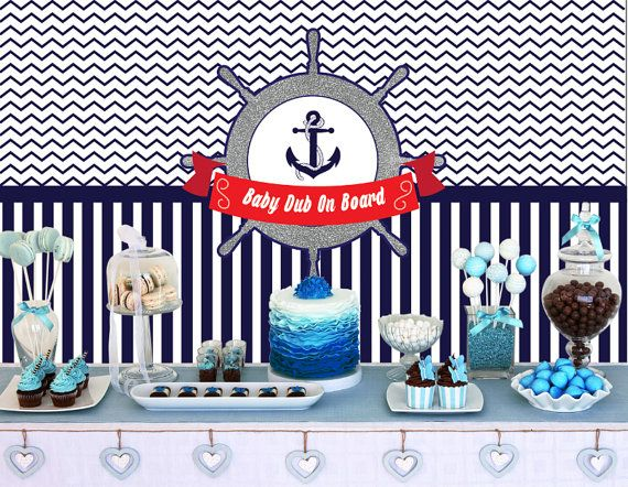 Nautical Backdrop poster - Customize photo booth props - Birthday Party - Baby Shower - Printable Backdrop
