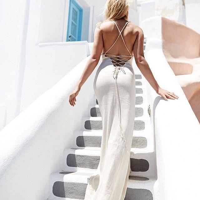 Girl & the Sun - Luna Tie Back Maxi Dress (White)