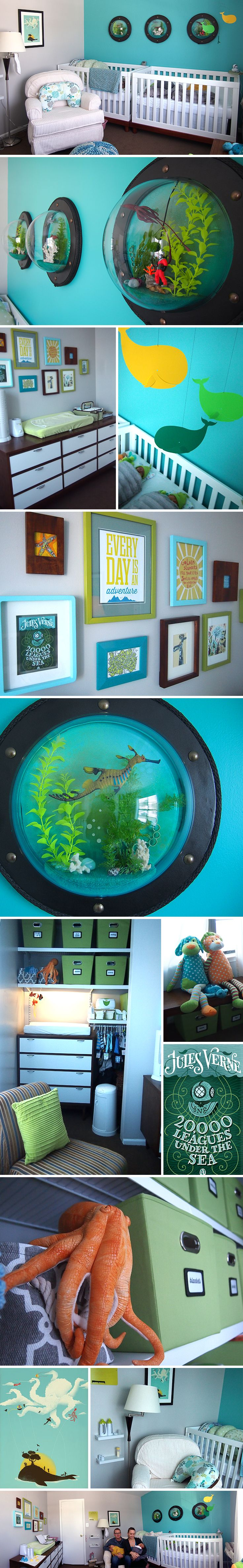 Nursery underwater sea theme for our twin boys, with handmade portholes, refurbished 1960's dressers, and loads of other DIY items #nurserytheme #onabudget #underthesea