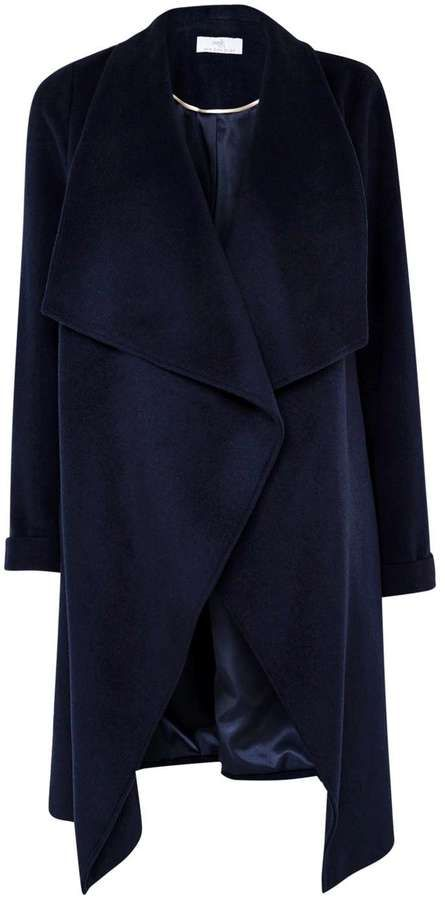 Petite Navy Waterfall Coat