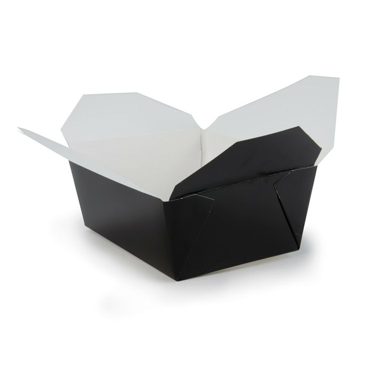 "8"" x 6"" x 4"" ChampPak Retro Black Paper Take-Out Container – 160 / Case"