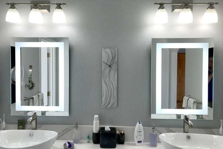 Front Lighted Led Bathroom Vanity Mirror 28 Wide X 40 Tall Rectangular Wall Mounted Bathroom Red Small Bathroom Bathroom Flooring