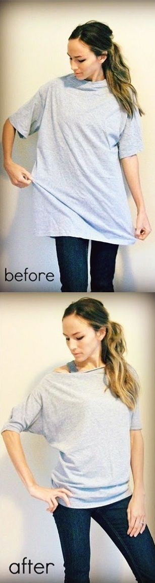 Turn Oversized T-shirt into Dolman T-shirt – DIY with all my husbands shirts.