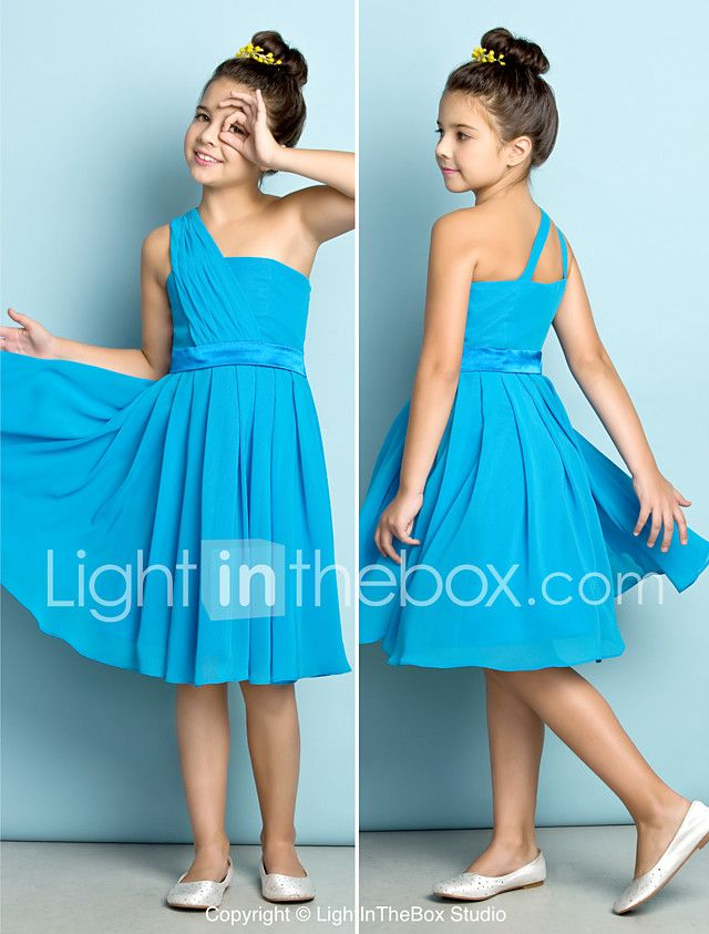 Lanting Bride® Knee-length Chiffon Junior Bridesmaid Dress - Mini Me A-line One Shoulder with Side Draping 2017 - $53.99
