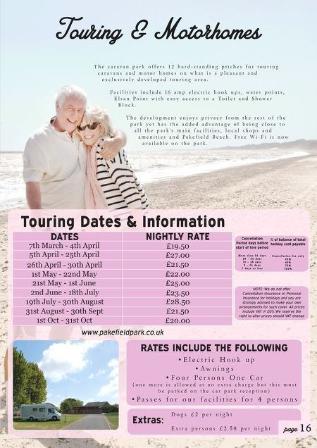 Touring & Motorhomes, 2015 Bookings Now Being Taken To Avoid Disappointment Book Today Online