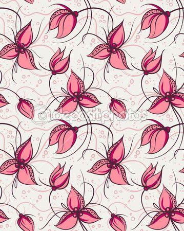 Бесшовный фон красные цветки орхидеи
