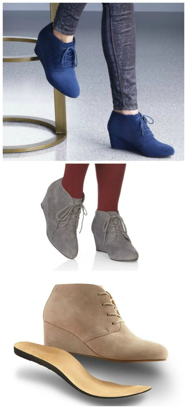 Vionic Elevated Becca wedge bootie has a removable contoured footbed with enhanced arch support and a deep heel cup. These remind me of the Toms Desert wedge boot!