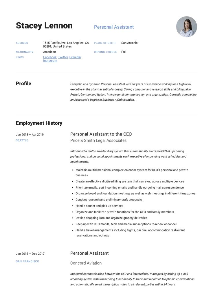 Personal Assistant Resume Example in 2020 Assistant jobs