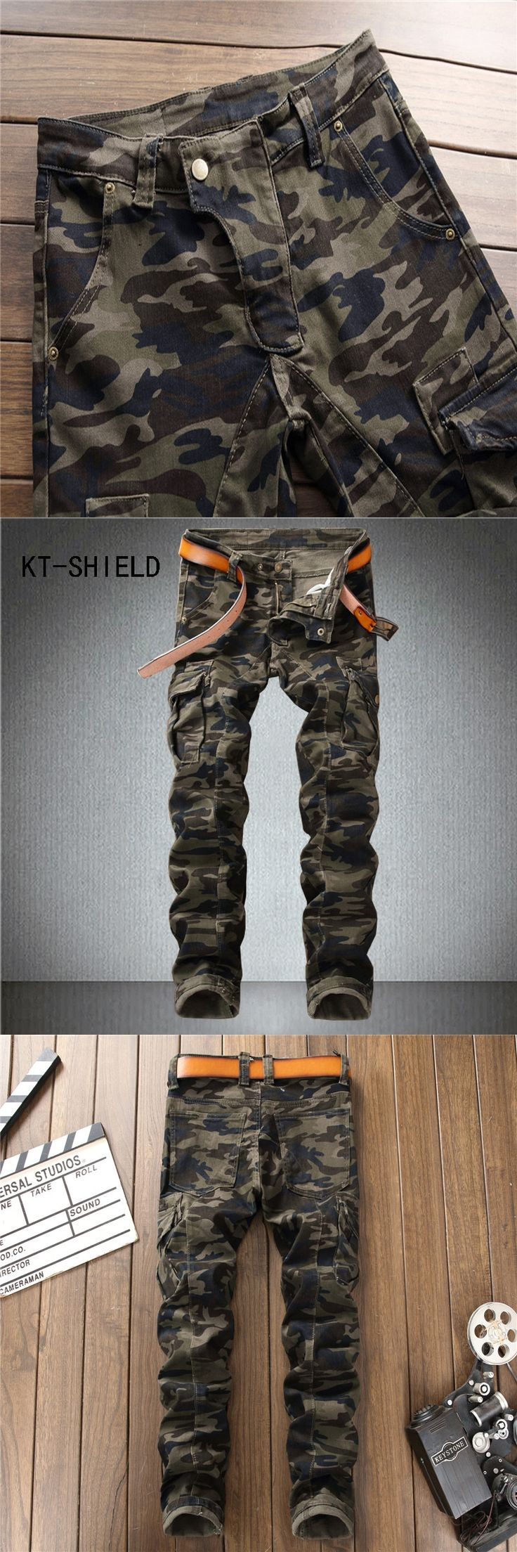 Mens Tactical cargo Pants hombre Multi Pocket casual homme trousers camouflage biker motorcycle Slim fit jeans calca masculina