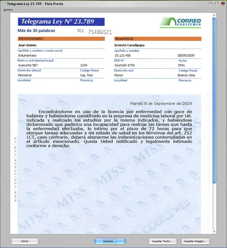 Trapala! • Programas para imprimir Cartas Documentos y Telegramas Colacionados