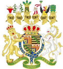 Coat of arms for Prince Albert of Saxe-Coburg-Gotha Prince Consort to Queen Victoria (translation of motto: Loyal and Sure). This is from the 1840 grant (when Albert married Victoria).
