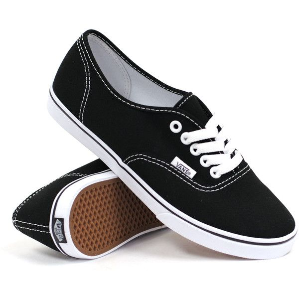 Vans Authentic Lo Pro (Black/True White) Women's Shoes ($45) ❤ liked on Polyvore featuring shoes, sneakers, vans, black, vans footwear, black trainers, saddle shoes, white skate shoes i white shoes