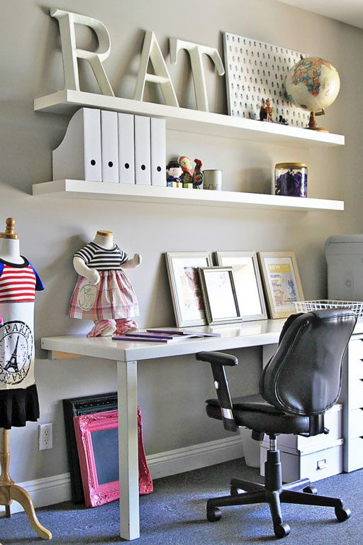 Office and Home Decor Ideas AFTER via lilblueboo.com :: Half of a thrift store table for the desk
