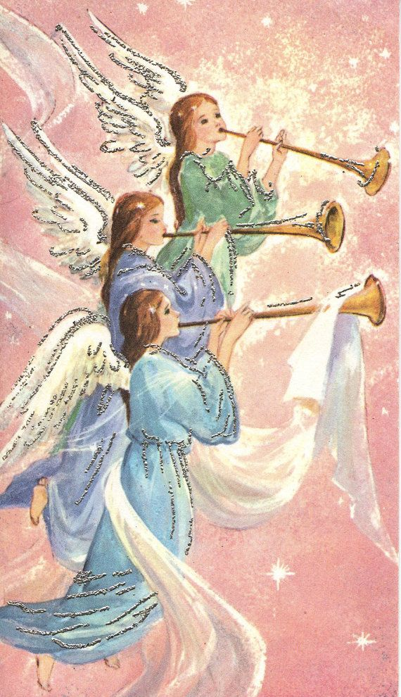 Vintage Christmas Card Angels Lanterns by antiquewhisperer on Etsy, $3.00