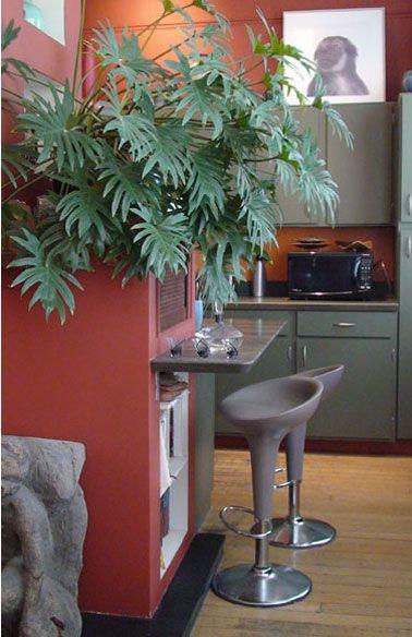 cuisine meubles couleur gris vert et rouge brique