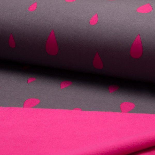 Softshell - Raindrops grey/fushia - www.stoffbutikken.no