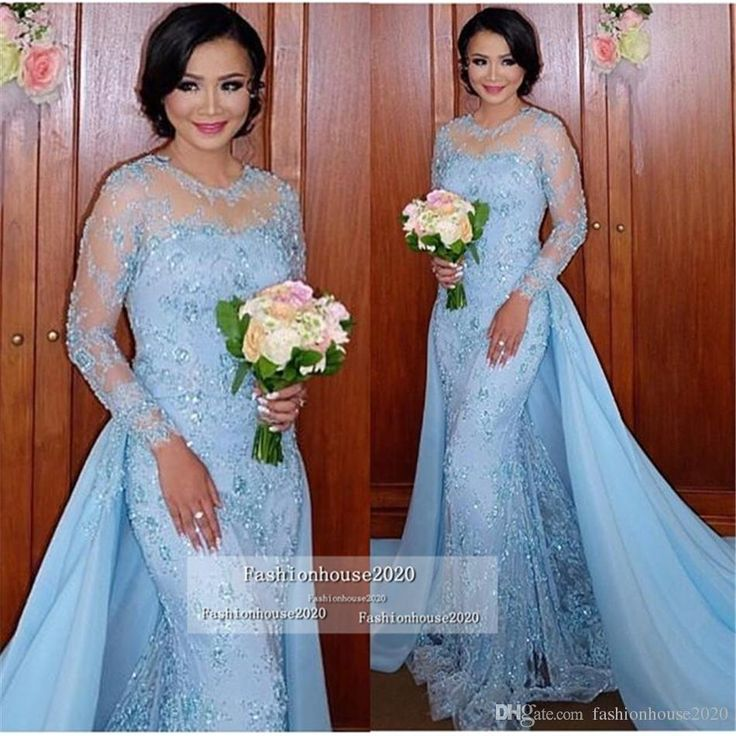 Light Blue Long Sleeve Mermaid Evening Dresses Appliques Two Piece Lace Formal Evening Gowns With Detachable Skirt Vestidos Arabic Dress