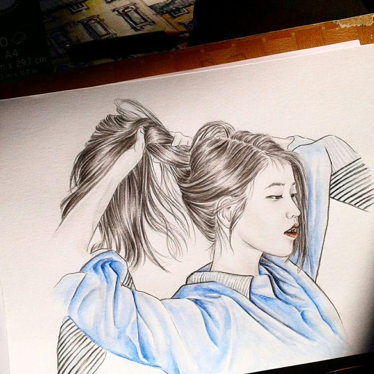 #IU #longhair Pancil on paper #Watercolorpancil