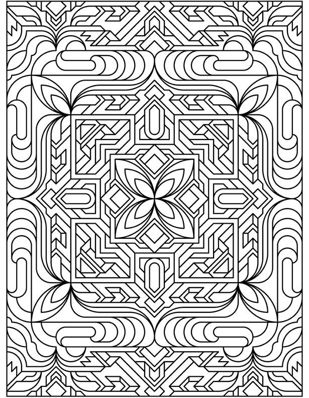 yet another interesting decorative geometric design with lots of straight lines and edges and a flower shape in the very center coloring page