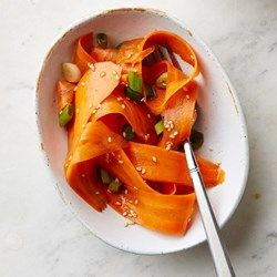 Sesame-Honey Carrot Ribbon Salad - EatingWell.com Swap out soy for liquid amigos and Yahtzee!