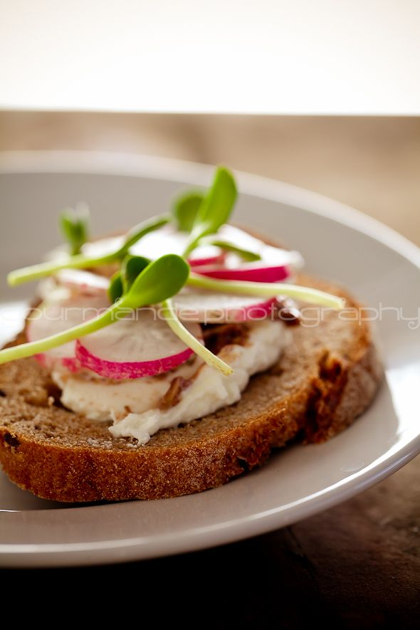 french radish and sunflower sprout tartines