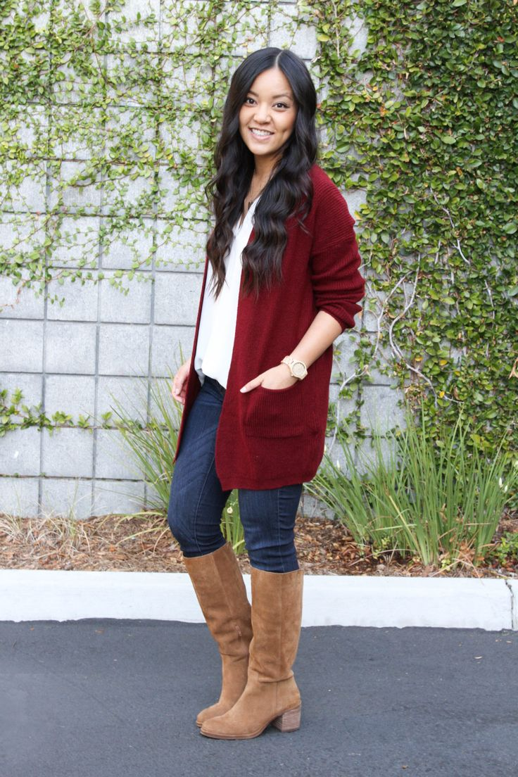 Maroon Cardigan and White Lush Tunic Outfit
