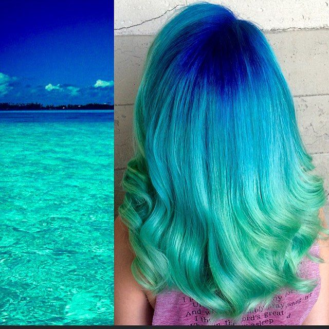 Beautiful hair color interpretation of a tropical ocean by Breanna Little hotonbeauty.com mermaid hair blue hair turquoise hair color