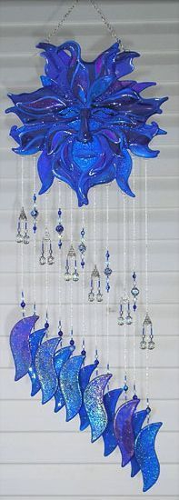 Art 'Wind Spirit' - by Jacqueline K M Pfeffer from Fused Glass Mobile-Chime