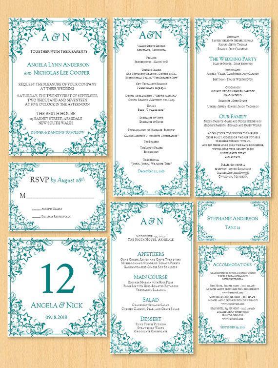 DIY wedding printable invitation pack template by DIYWedTemplate
