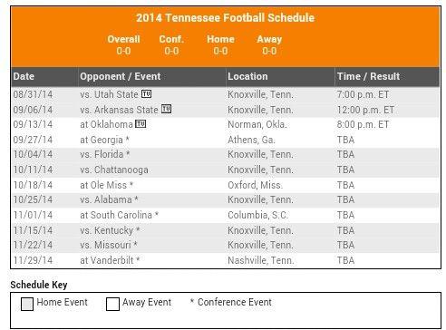 TN Vols Football Schedule ❤
