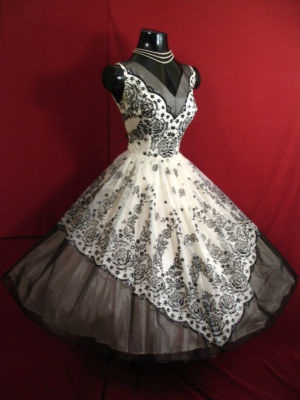 1950's black and white, velvet organza party dress