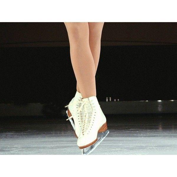 female ice skater on tips of skates - Sports Desktop Wallpaper ❤ liked on Polyvore