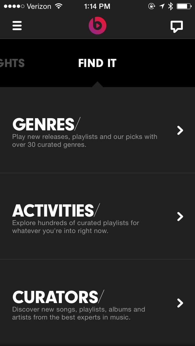 categorías y breve descripción / Beats Music