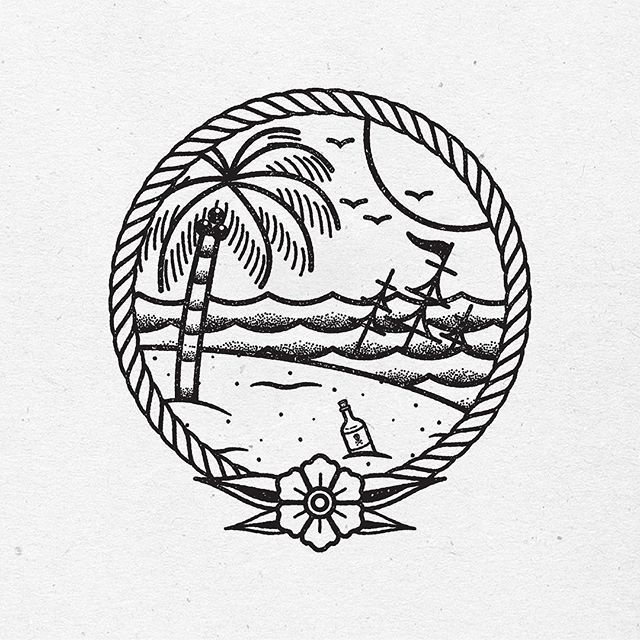 Little tropical work in progress for a customer  #traditional #tattoo #design…