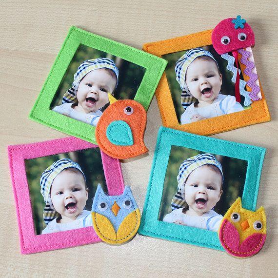 Fotolijstjes met een magneet. Erg leuk om zelf te maken, Kijk voor vilt eens op http:www.bijviltenzo.nl en kies eens voor het budgetvilt - knutselvilt