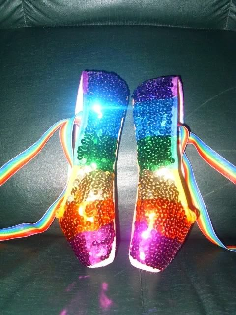 pointe shoes with rainbow sequins  from JackrabbitDance.com