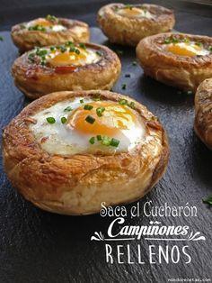 Receta de Champiñones rellenos de jamón y huevos de codorniz