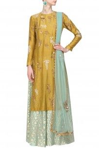 Yellow floral embroidered kurta and mint brocade sharara set