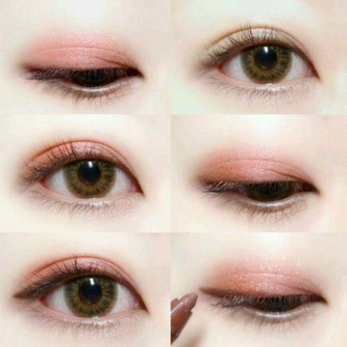 comment maquiller des yeux bridés, maquillage chinoise femme en rose