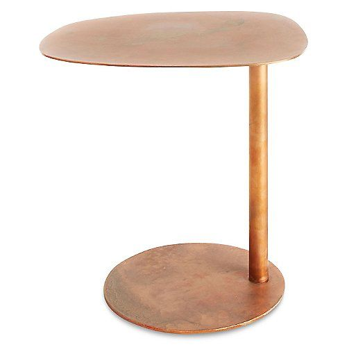 The Blu Dot Swole Small Accent Table features a soft, organically shaped top on an offset round base. The entire piece is coated entirely in copper plate or a powder coat finish. The cantilevered base makes the table great for pulling in close to a lounge chair, sofa or the group of other tables in your sweet Swole tablescape.