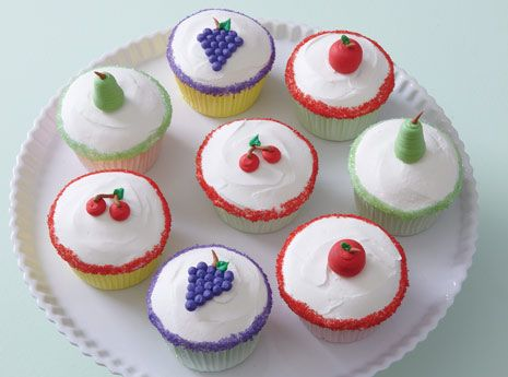 Cupcakes with frosting fruit