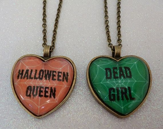 Halloween Heart Cameo Necklace  Halloween by CalamityJayneDesigns