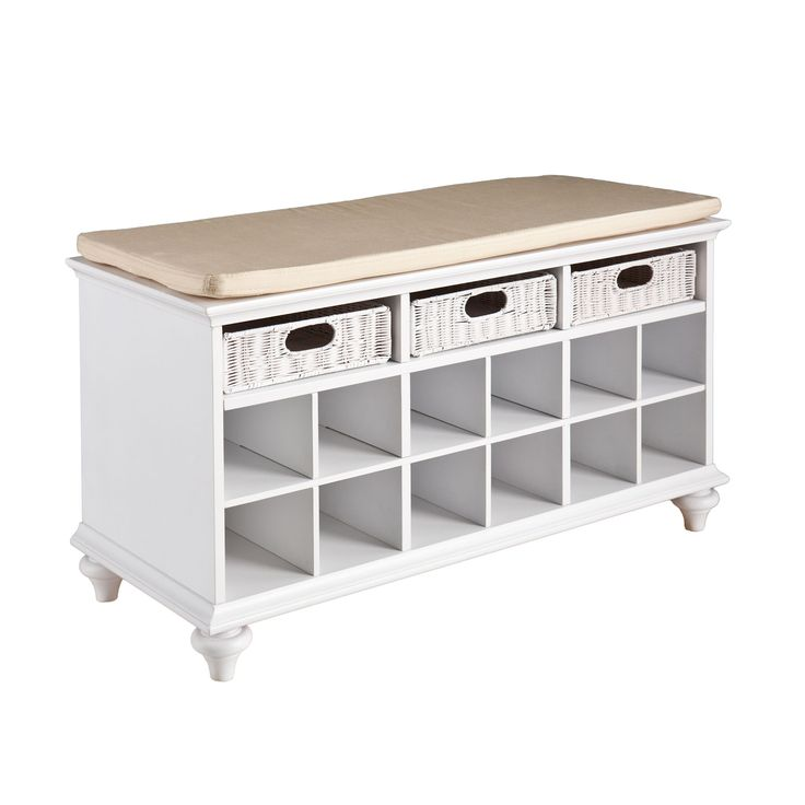 Bring order to busy entryways with this well-designed system. Spacious cubbies for shoes and woven drawers for smaller items provide stylish storage. Sit on the padded cushion while you tie your laces....  Find the Hideaway Bench, as seen in the Our Favorite Farmhouse Designs Collection at http://dotandbo.com/collections/our-favorite-farmhouse-designs?utm_source=pinterest&utm_medium=organic&db_sku=SEI0059