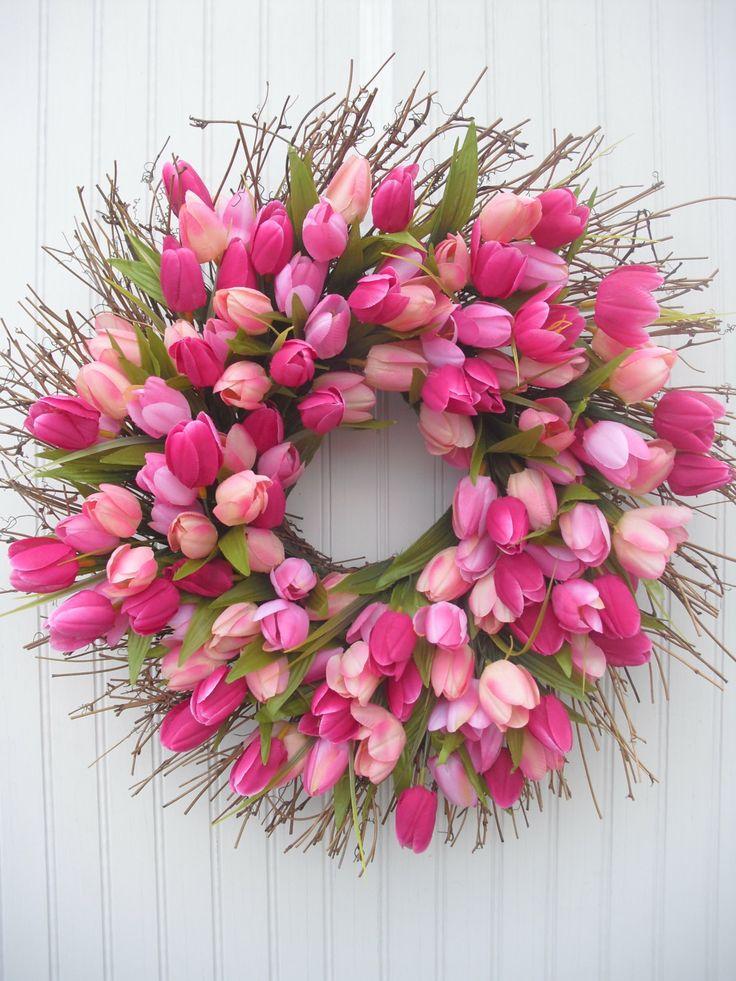 Tulip Spring Wreath - Deep Pink & Peach Shades
