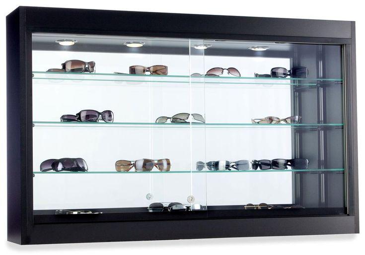 Bathroom Mirror Cabinet W Led Lights Adjustable Shelves: Glass Wall Display Case W/ 3 Adjustable Shelves, Lockable