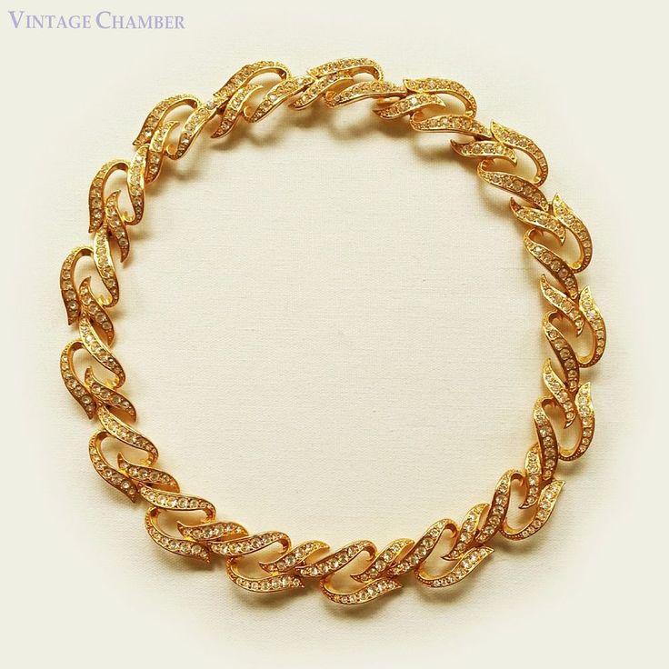 Vtg 1993 Elizabeth Taylor Avon Eternal Flame Rhinestone 22K Gold Plated Necklace #ElizabethTaylorforAvon #Collar